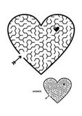 Valentine's Day wedding romantic etc themed heart shaped hexagonal maze or labyrinth game Suitable both for kids and adults Answer included