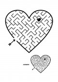 Valentine's Day wedding romantic etc themed heart shaped diagonal maze or labyrinth Suitable both for kids and adults Answer included