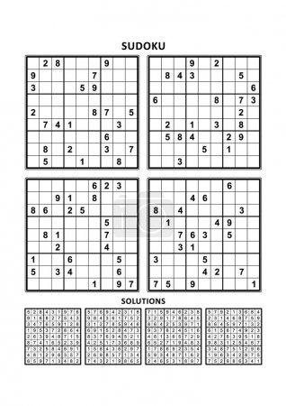 Illustration pour Quatre puzzles sudoku de niveau confortable (facile, mais pas très facile), en format A4 ou Lettre avec marges, adaptés aux livres en gros caractères, réponses incluses. Set 9 . - image libre de droit
