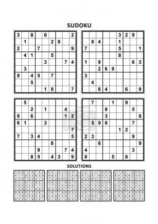 Illustration pour Quatre puzzles sudoku de niveau confortable (facile, mais pas très facile), en format A4 ou Lettre avec marges, adaptés aux livres en gros caractères, réponses incluses. Set 10 . - image libre de droit