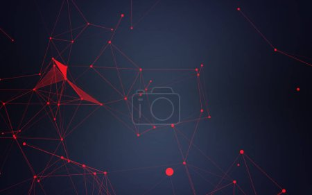 Photo for Data visualization in form of polygonal geometric shapes formed by dots and lines on blue background - Royalty Free Image