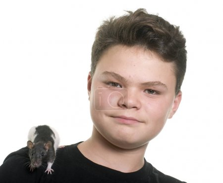 black and white rat and teen