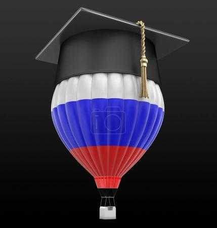 Photo for Hot Air Balloon with Russian flag and Graduation cap. Image with clipping path - Royalty Free Image
