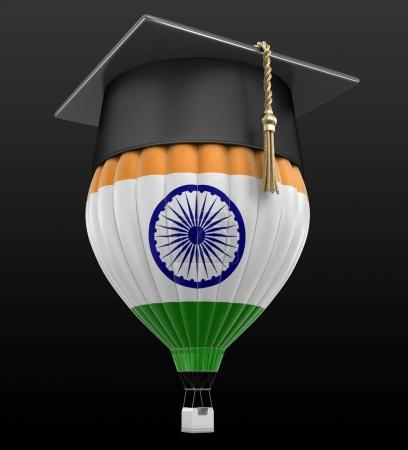 Photo for Hot Air Balloon with Indian Flag and Graduation cap. Image with clipping path - Royalty Free Image