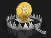 Trap and bitcoin Image with clipping path