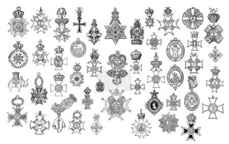 Illustration of vintage crosses and