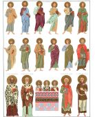 The 12 apostles and other saints.