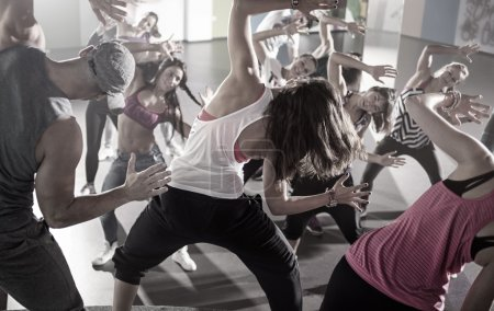 group of dancers at fitness training