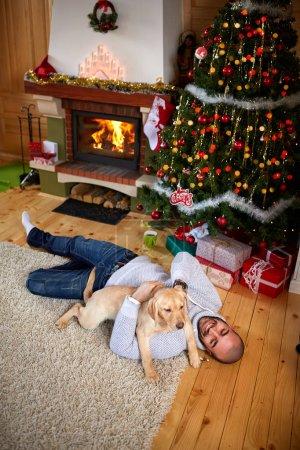 Enjoying with dog on Christmas eve
