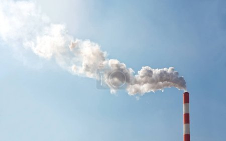 Air pollution with smoke from chimney