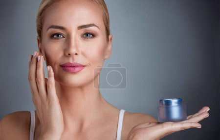 Nourished woman with cream