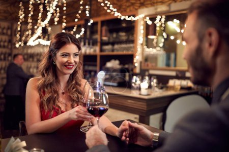 Woman and man celebrate anniversary