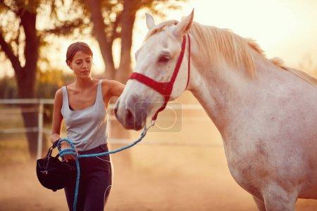 Photo pour Jeune cavalière et son beau cheval à la journée d'été à la ferme . - image libre de droit