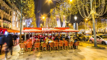 Street Terrace on Champs Elysees in a Winter Night