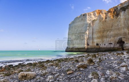 Image of the rocky beach from Le Tileul in the Upper Normandy in the North of France.