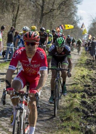 Photo pour Trouee d'Arenberg, France - 12 avril 2015 : Le Belge Michael Van Staeyen de Cofidis Team dans le peloton sur la célèbre route pavée de la forêt d'Arenberg lors de la course Paris Roubaix 2015 . - image libre de droit