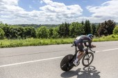 Bourgoin-Jallieu, France - 07, May, 2017: The Welsh cyclist Luke Rowe of Team Sky riding during the time trial stage 4 of Criterium du Dauphine 2017.