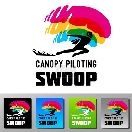 Swoop canopy piloting skydive vector logo.