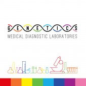 Genetics logo of medical clinic diagnostic laboratories Colorful vector DNA bulb test tubes and microscope