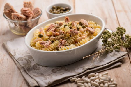 Photo for Pasta with tuna white beans capers and oregano - Royalty Free Image
