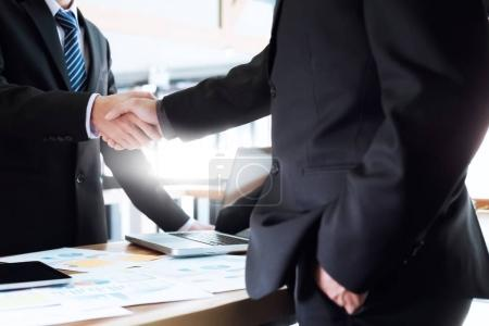Photo pour Business partnership meeting concept. Image businessmen handshake. Successful businessmen handshaking after good deal. - image libre de droit