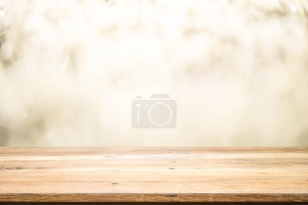 Photo for Wood table top on white bokeh abstract background and used for montage or display product - Royalty Free Image