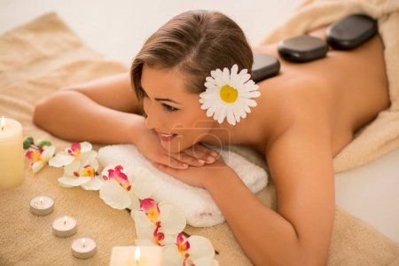 Young woman in the spa centre