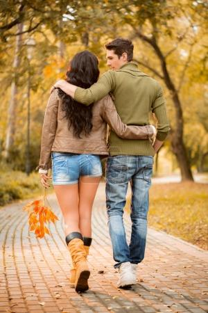 Loving couple walking in  park
