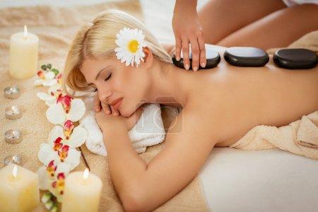 woman enjoying during a back massage