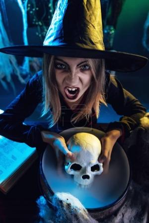 Young Witch Is Cooking Skull Potion