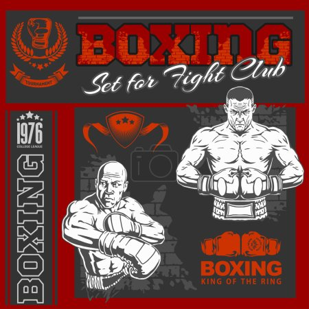 Vector Set - Boxing World Champion Labels and Icons