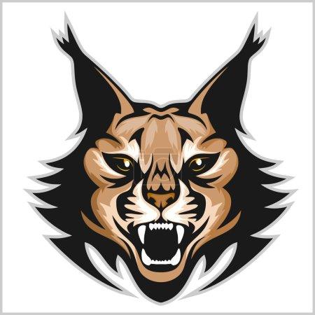 Illustration pour Logo de mascotte de Lynx. Tête de lynx isolée sur illustration vectorielle blanche . - image libre de droit