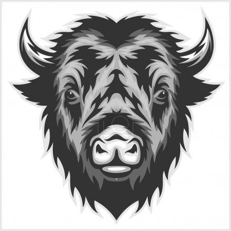 Illustration pour Tête de mascotte de bison. Noir et blanc. Isolé sur blanc - image libre de droit