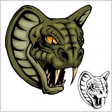 Illustration pour Mascotte Cobra Head - illustration vectorielle isolée sur blanc - image libre de droit