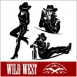 Silhouettes of Western Cowgirls. Vector Illustrati...