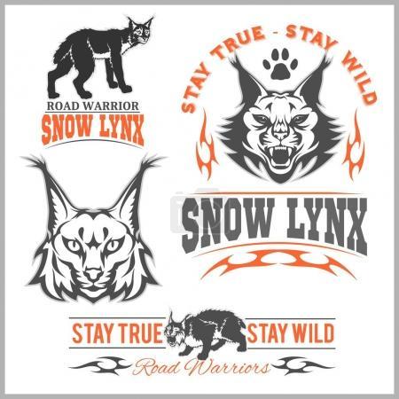 Illustration pour Tête de lynx vectorielle, visage pour logos rétro, emblèmes, badges, gabarits d'étiquettes et t-shirt vintage élément design. Isolé sur fond blanc - image libre de droit