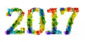 year Colourful bright ink splat design on white background