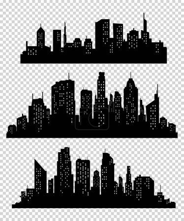 Photo pour Ensemble de silhouette de villes vectorielles. Collection d'icônes de ville vectorielle - image libre de droit