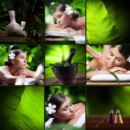 Photo pour Collage de thème Spa composé de différentes images - image libre de droit