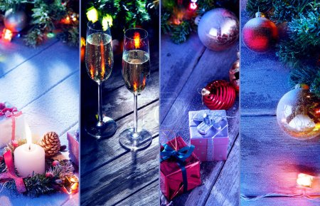merry christmas and new year theme collage composed of different images