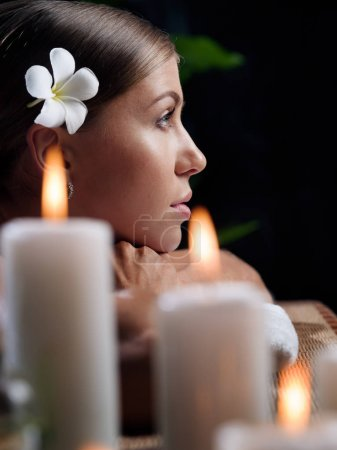 Photo for Portrait of young beautiful woman in spa environment. - Royalty Free Image