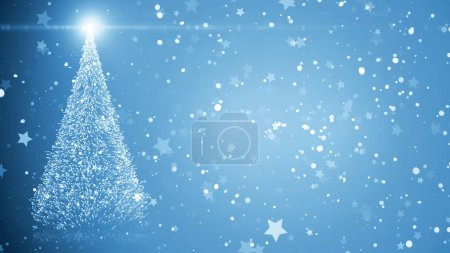 Photo for Merry Christmas greeting card: Christmas tree with shining light, falling snowflakes and stars and place for text. - Royalty Free Image