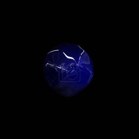Photo pour Illustration 3D, surface ondulée sur sphère, métamorphose de forme amorphe, fond abstrait - image libre de droit