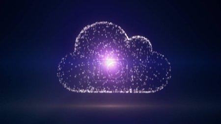 Photo pour Conception Cloud Computing, illustration 3D avec code binaire symbole informatique - image libre de droit