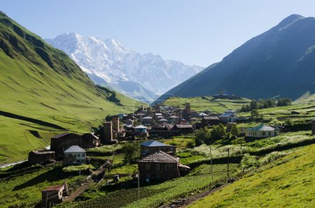 View of the high mountain village of Ushguli in Svaneti, Georgia