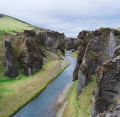 River flowing at the bottom of the canyon in Iceland