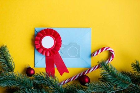 Blue christmas envelope and reward