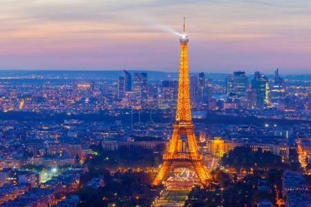 beautiful view on Paris in the evening