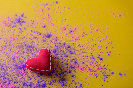 Pink and purple paint and heart shape