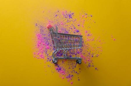 Pink and purple paint and cart